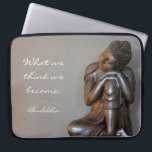 "Peaceful silver Buddha Computer Sleeve<br><div class=""desc"">Elegant,  artistic close up of resting Buddha with words of wisdom creates a feeling of calm.</div>"