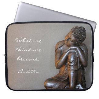 Peaceful silver Buddha Computer Sleeve