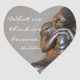 Peaceful silver Buddha Heart Sticker
