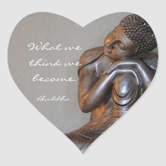 Peaceful silver Buddha with words of wisdom Heart Sticker