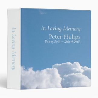 Peaceful Sky 1 Funeral Memorial Guest Book 3 Ring Binder