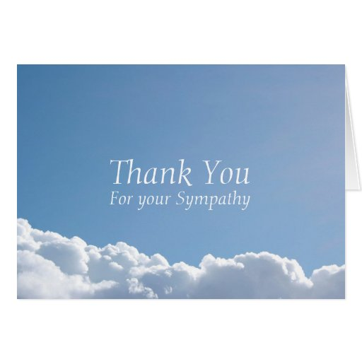Peaceful sky 2 sympathy thank you note card zazzle for Thank you note for condolence gift