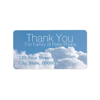 Peaceful Sky 3 Family Thank You Address Label