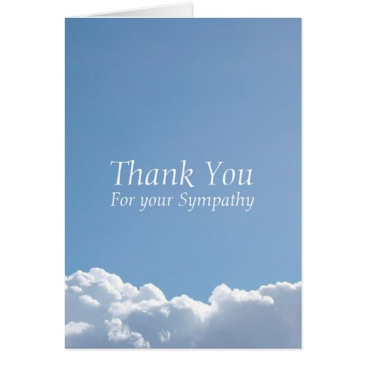 Peaceful sky 3 sympathy thank you stationery note card for Thank you note for condolence gift