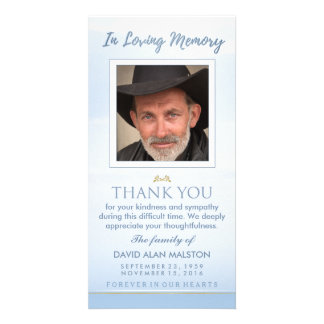 Peaceful Sky Blue In Loving Memory Thank You Card