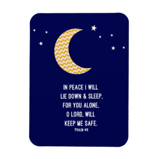 Peaceful Sleep, Moon, Navy Background Verse Magnet