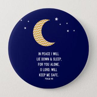 Peaceful Sleep, Moon, Navy Background Verse Pinback Button