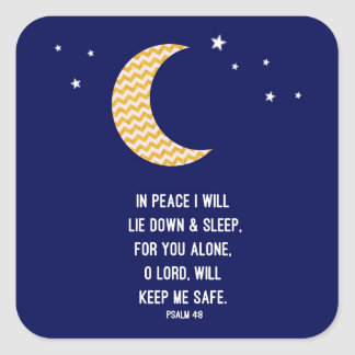 Peaceful Sleep, Moon, Navy Background Verse Square Sticker