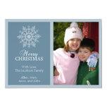 Peaceful Snowflake Christmas Card (Blue Gray) Custom Invitation
