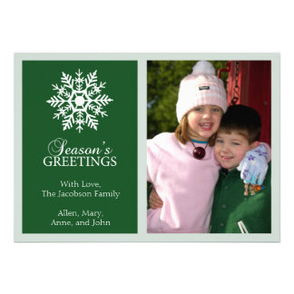 Peaceful Snowflake Christmas Card Evergreen Custom Invite