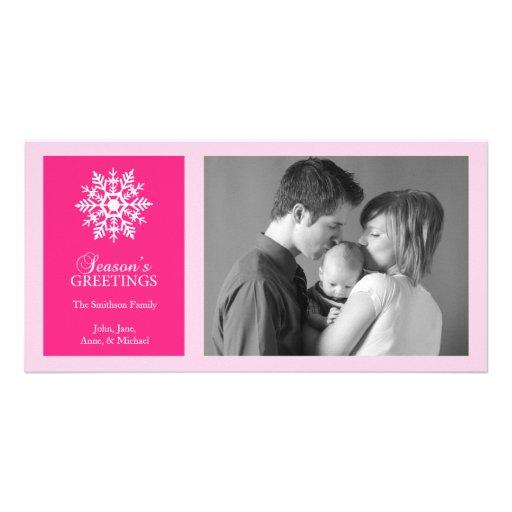 Peaceful Snowflake Christmas Photo Card (Hot Pink)