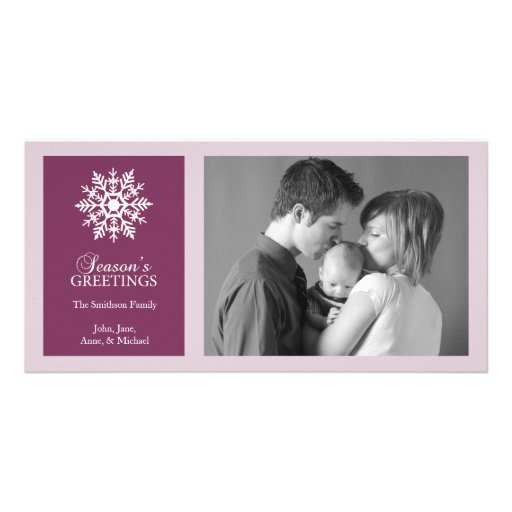 Peaceful Snowflake Christmas Photo Card Raspberry