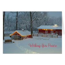 Peaceful Snowy Farm Scene Christmas Card