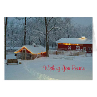 Peaceful Snowy Farm Scene Christmas Card