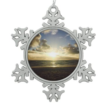 Beach Themed Peaceful sunset at the beach Christmas Snowflake Pewter Christmas Ornament