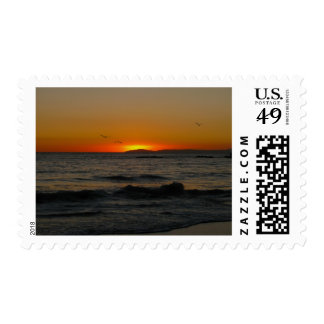Peaceful Sunset by the Coast Postage Stamps