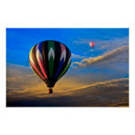 Peaceful Sunset Hot Air Balloons Poster