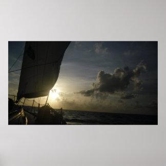 Peaceful Sunset Sail Poster