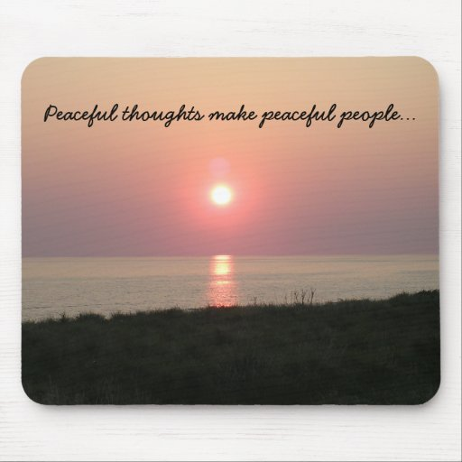 Peaceful Thoughts/Sunset on Beach over the Sea Mouse Pad