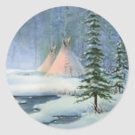 PEACEFUL TIPI by SHARON SHARPE Round Stickers