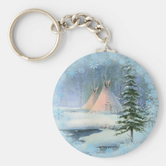 PEACEFUL TIPI & SNOWFLAKES by SHARON SHARPE Keychain