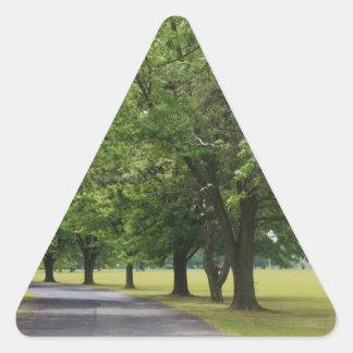 Peaceful treeline road triangle sticker