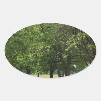 Peaceful treeline road oval sticker