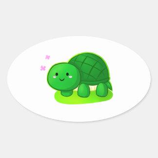Peaceful Turtle Oval Sticker