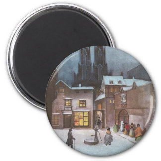 Peaceful Village at Night Vintage Christmas 2 Inch Round Magnet