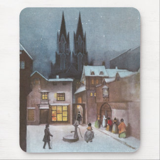 Peaceful Village at Night Vintage Christmas Mouse Pad