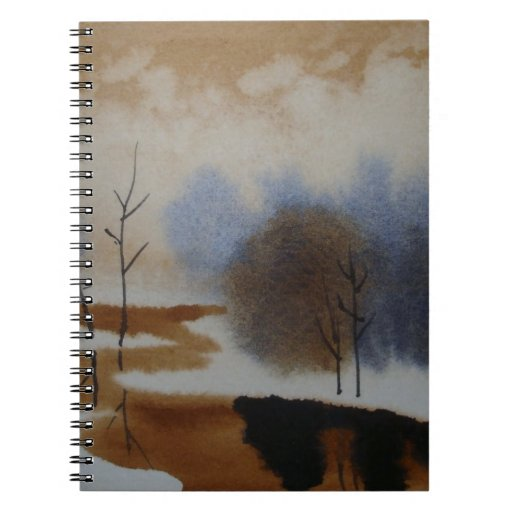 Peaceful Watercolor Winter Snow Scene Hand Painted Journals