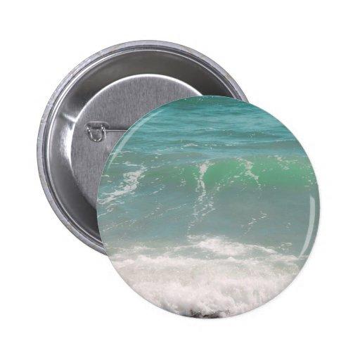 Peaceful Waves Blue Green Sea Beach Photography Button