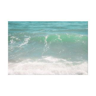 Peaceful Waves Blue Green Sea Beach Photography Canvas Print