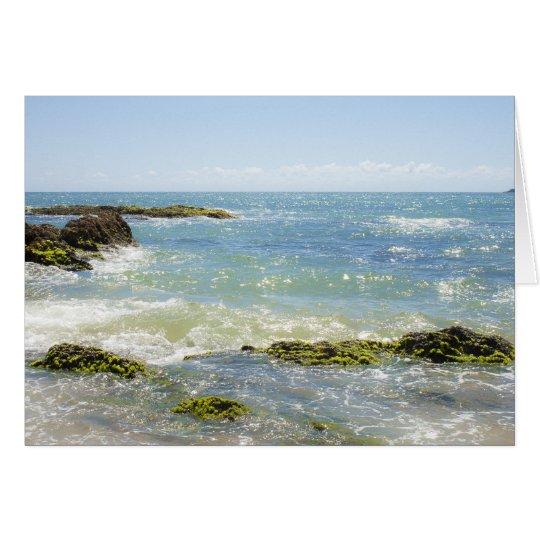 Peaceful Waves Blue Green Sea Beach Photography Card