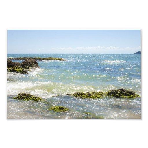 Peaceful Waves Blue Green Sea Beach Photography Photographic Print