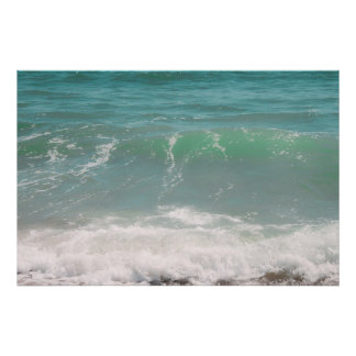 Peaceful Waves Blue Green Sea Beach Photography Poster