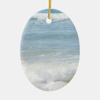 Peaceful Waves Blue Sea Beach Photography Ceramic Ornament