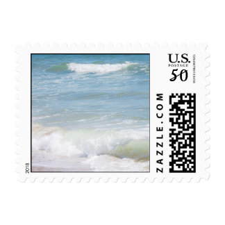 Peaceful Waves Blue Sea Beach Photography Postage