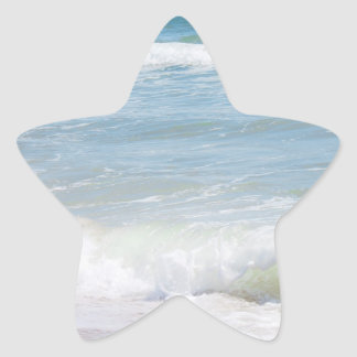 Peaceful Waves Blue Sea Beach Photography Star Sticker