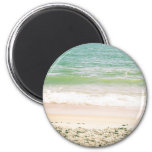 Peaceful Waves Pastel Beach Photography 2 Inch Round Magnet