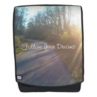 Peaceful Winding Path through Woods Sun Photograph Backpack