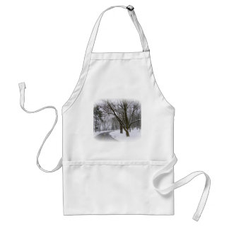 Peaceful Winter Afternoon Drive Adult Apron