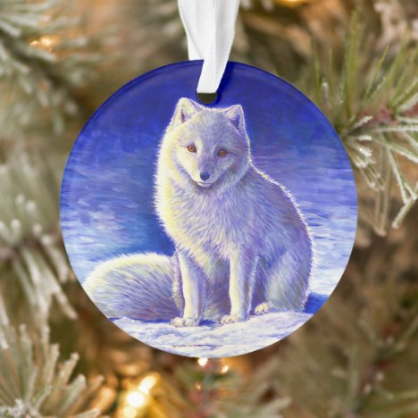 Peaceful Winter Arctic Fox Acrylic Ornament