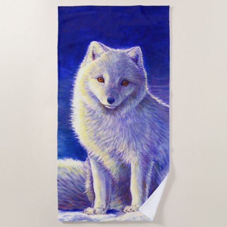 Peaceful Winter Arctic Fox Beach Towel