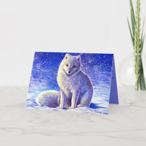 Peaceful Winter Arctic Fox Christmas Greeting Card
