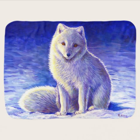 Peaceful Winter Arctic Fox Cute Baby Blanket