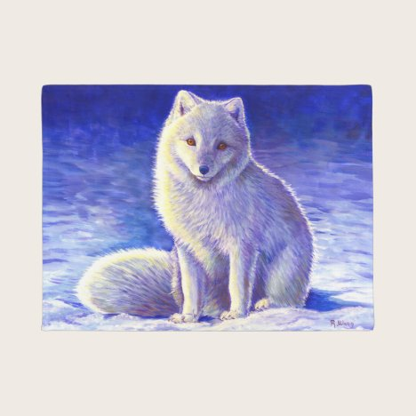 Peaceful Winter Arctic Fox Door Mat