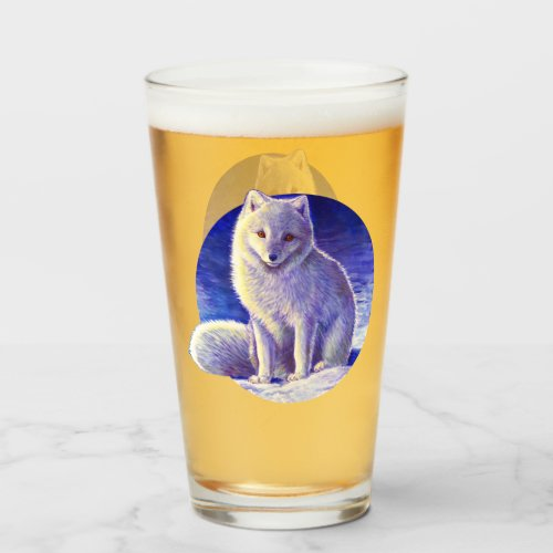 Peaceful Winter Arctic Fox Drinking Glass Cup