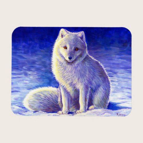 Peaceful Winter Arctic Fox Flexible Magnet