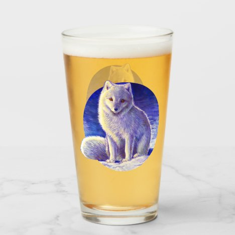 Peaceful Winter Arctic Fox Glass Cup